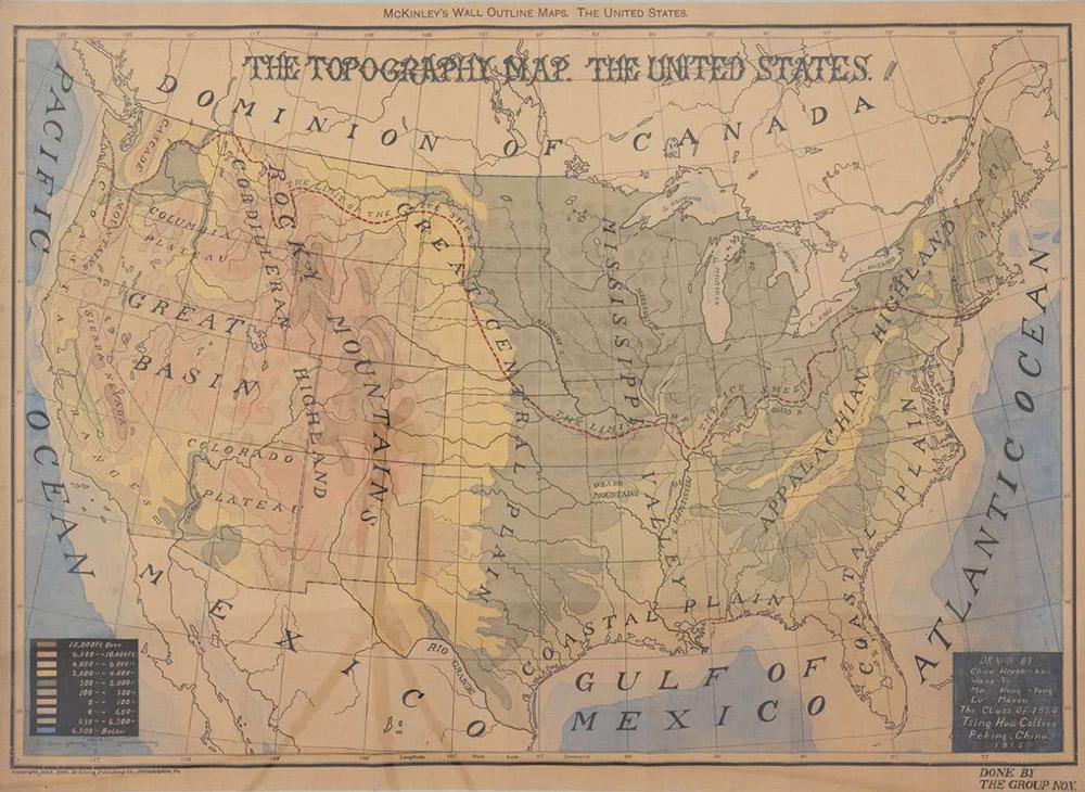 清华学校学生所绘美国地图